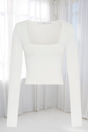 Clare Crop Sleeve Top - White