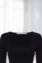 Clare Crop Sleeve Top - Black