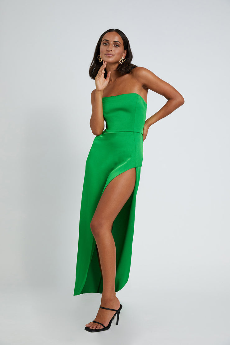 Strapless Split Gown - Mean Green