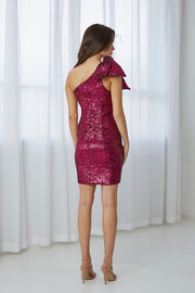 Flash Tied Up Mini Dress - Pink Sequin