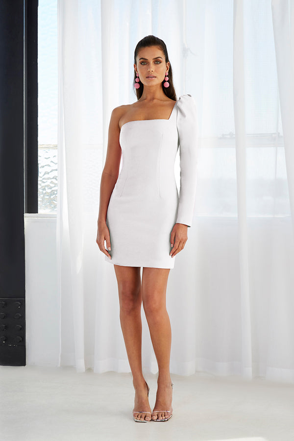 Shell Sleeve Mini Dress | Final Sale - White