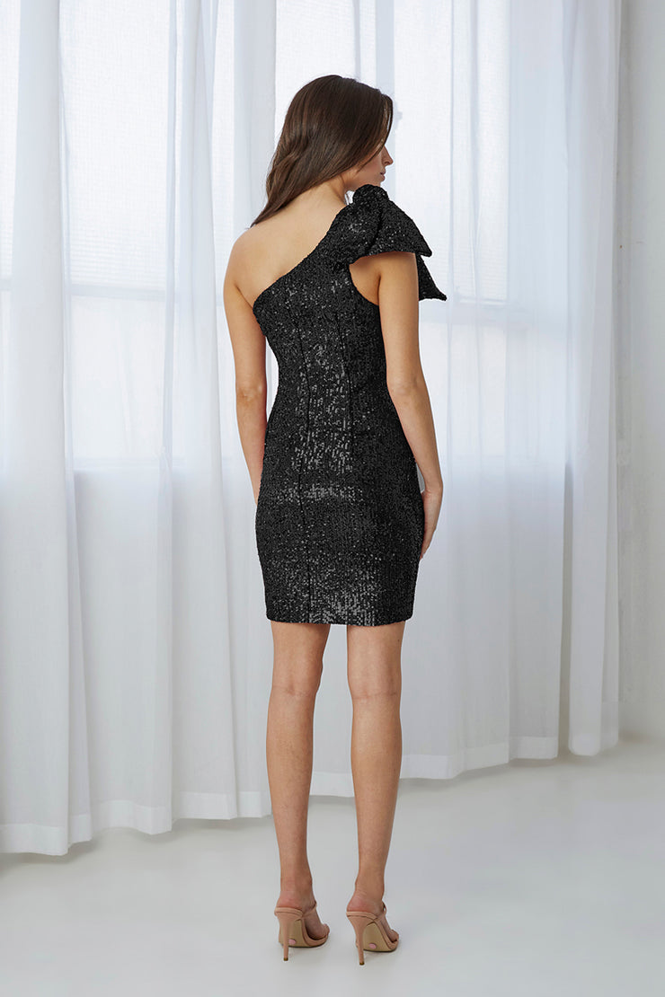 Flash Tied Up Mini Dress - Black Sequin