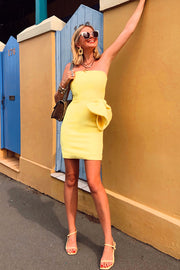 Bow Tie Mini Dress - Yellow
