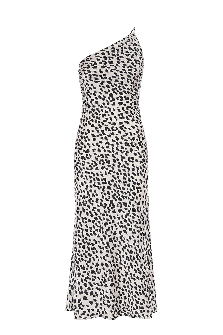 Leopard Asymmetric Bias Dress - White Black
