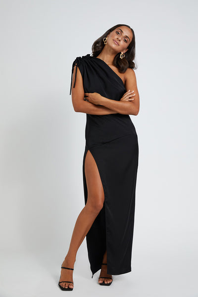 Sliced Out Asymmetric Dress - Black