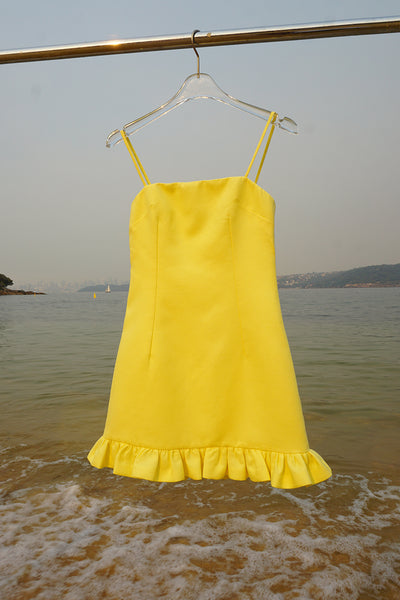 April Frill Mini Dress - Lemon