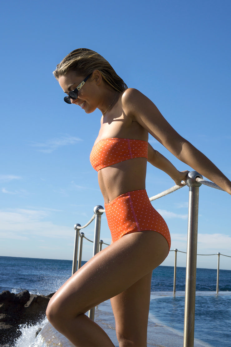 The Riley High Waisted Bottom - Tangerine Polka