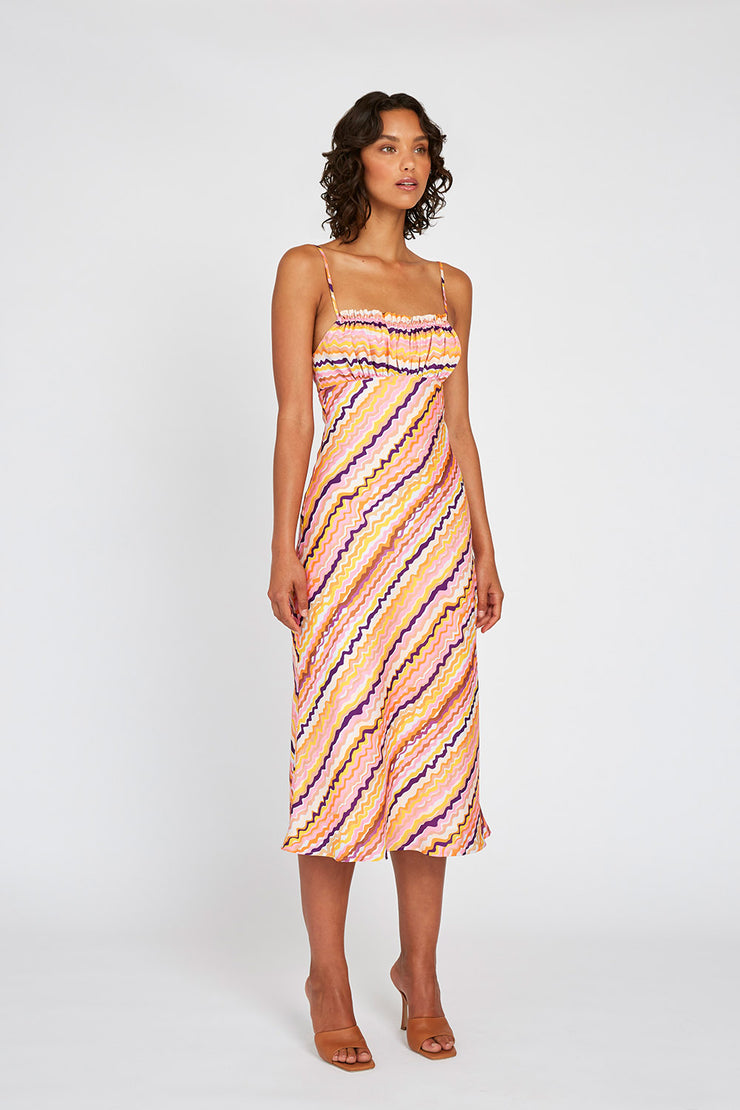 ELLE BIAS MIDI DRESS - RAINBOW DRIP