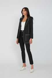 Contrast Linen Jacket - Black