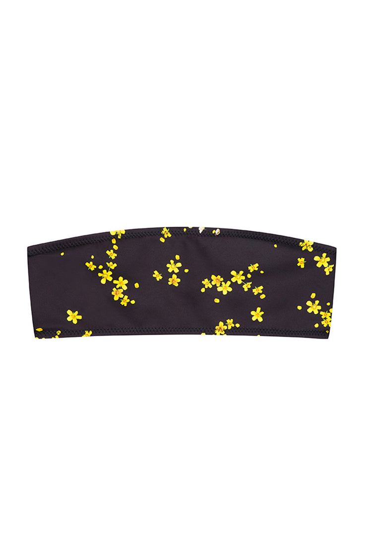 The Kenny Bandeau Top - Black Yellow Floral