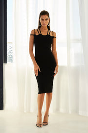 Ellie Cage Midi Dress - Black