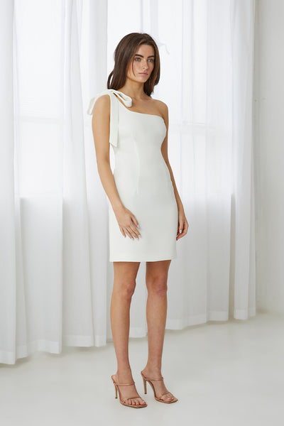Lean Shoulder Mini Dress - White