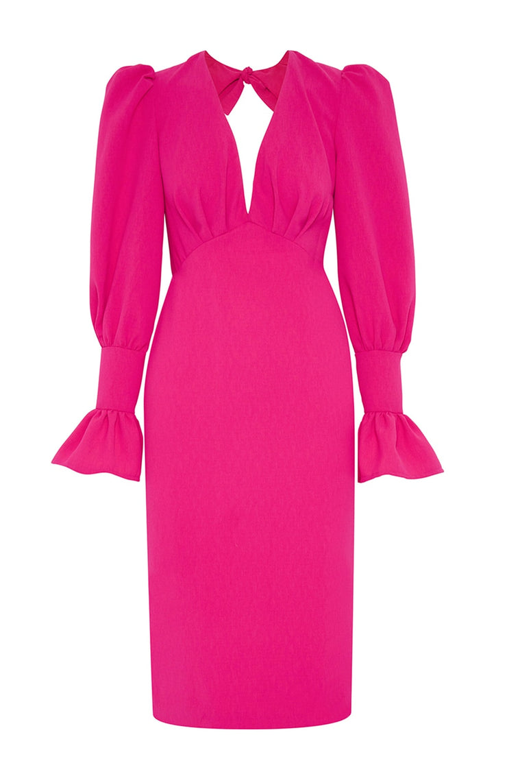 Tie Back Tulip Sleeve Midi Dress
