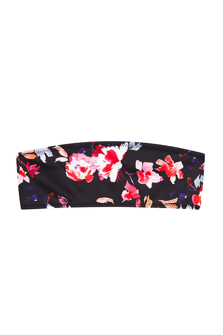 The Kenny Bandeau Top | Final Sale - Black Pink Floral