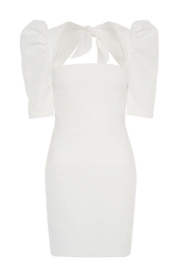Ocean Jacquard Mini Dress - White