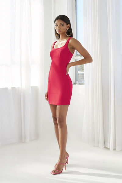 Bust Panelled Mini Dress | Final Sale - Deep Pink