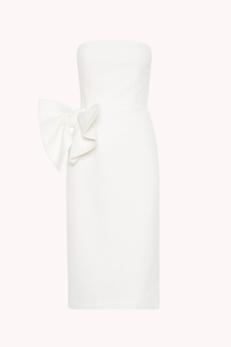 Bow Tie Strapless Dress - White