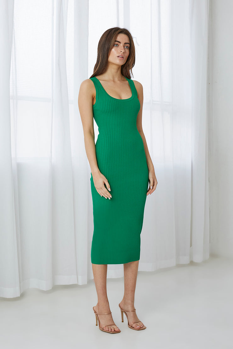 Double Rib Scoop Midi Dress - Green Rib