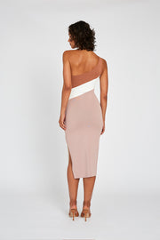 PRE ORDER | Taupe Tone Knit Midi Dress
