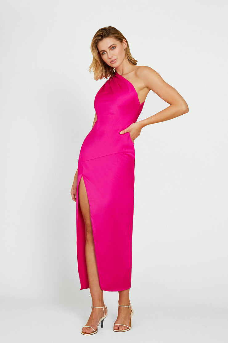 Sliced Out Asymmetric Dress - Electric Pink