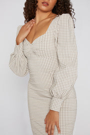 Belle Sleeve Check Midi Dress