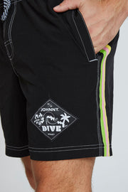 Black Stripe Boardshorts - Black