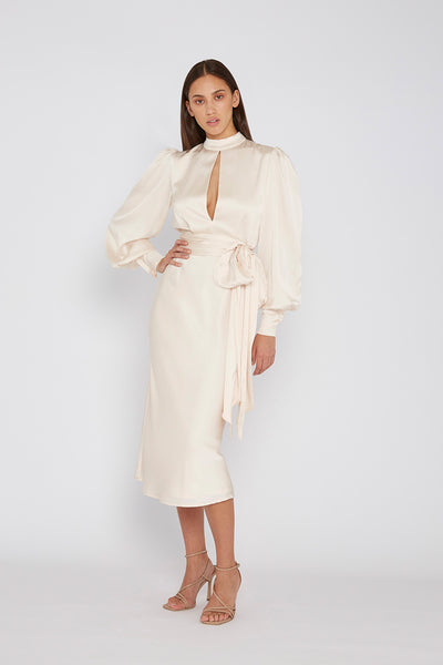 Camellia Midi Dress - Ivory