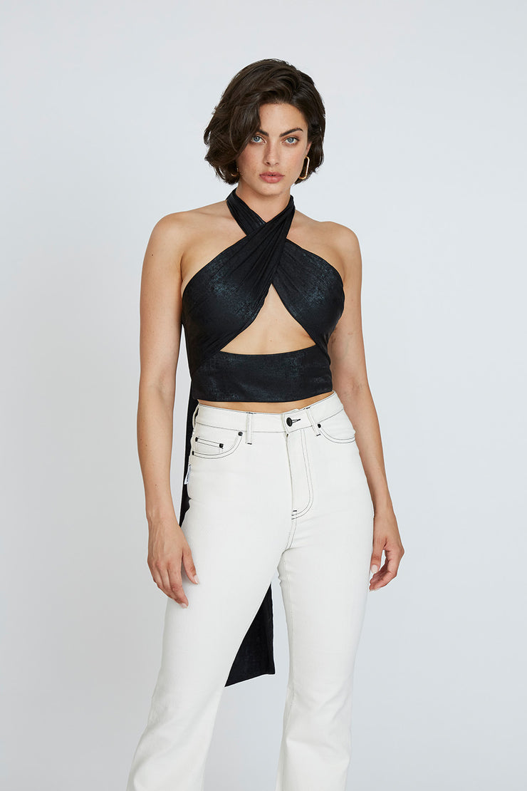Carmen Cross Body Top - Black | Final Sale