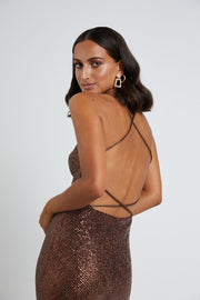 Chocolate Sequin Cross Back Dress
