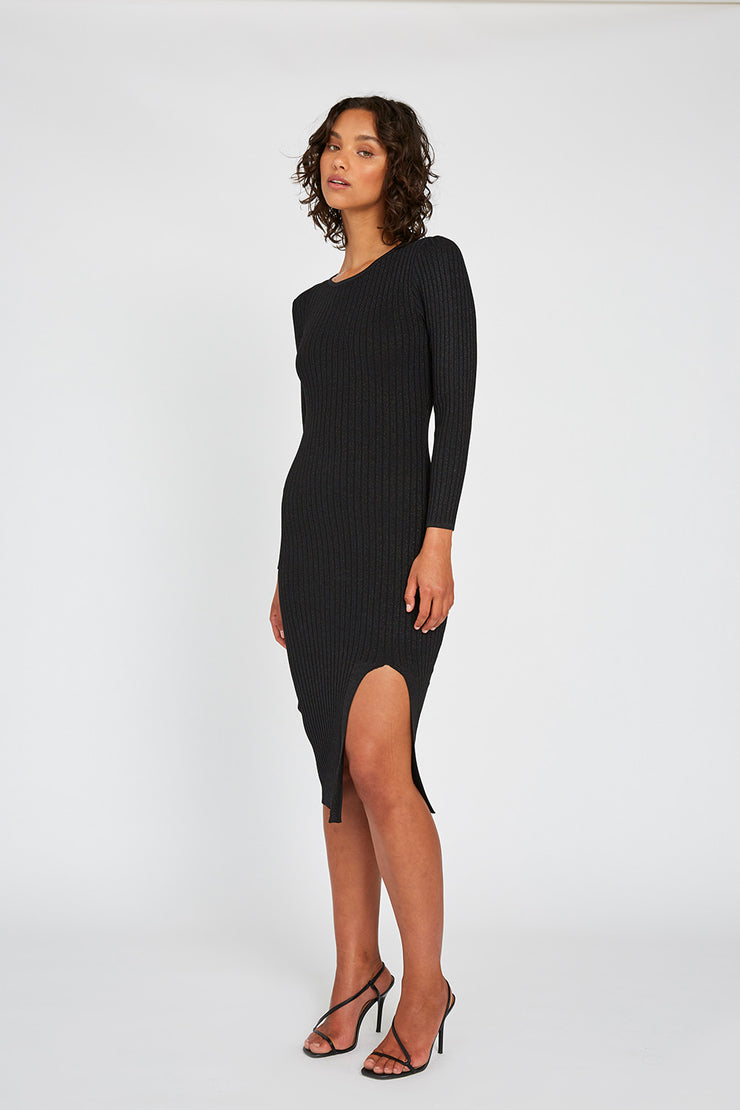 Double Rib Shine Midi Dress - Black Shine