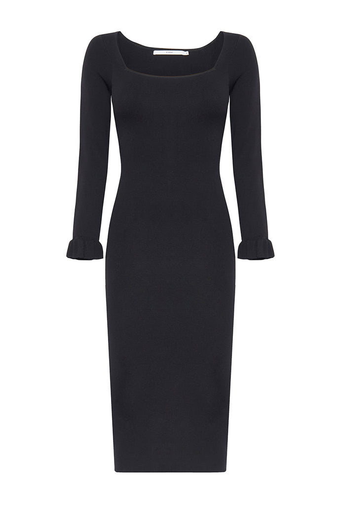 Frill Cuff Ribbed Midi Dress - Black