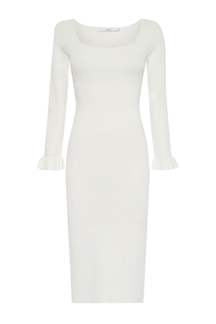 Frill Cuff Ribbed Midi Dress - White