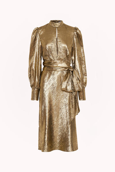 Gold Foil Cuffed Midi Dress | Final Sale