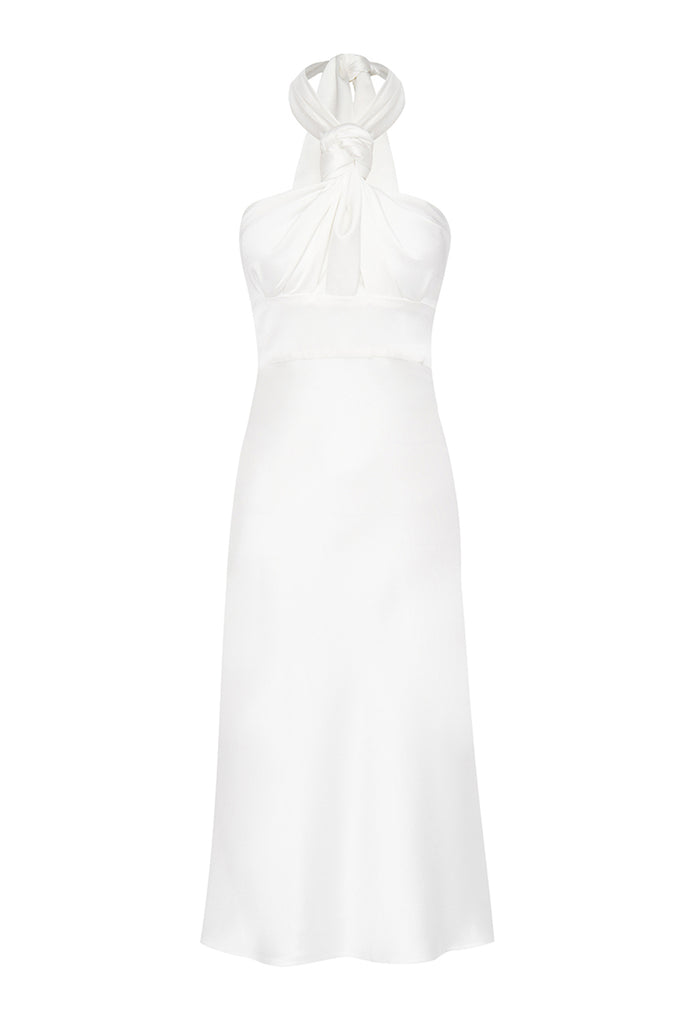 Knotted Neck Tie Midi Dress - White