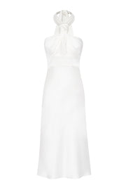 Knotted Neck Tie Midi Dress | Final Sale - White