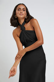Knotted Neck Tie Midi Dress - Black