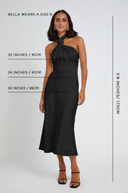 Knotted Neck Tie Midi Dress | Final Sale - Black