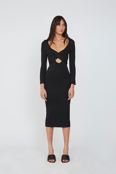 Kia Cross Body Midi Dress - Black