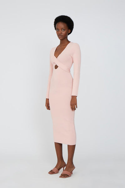 Kia Cross Body Midi Dress - Pink