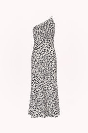 Leopard Asymmetric Bias Dress | Final Sale - White Black
