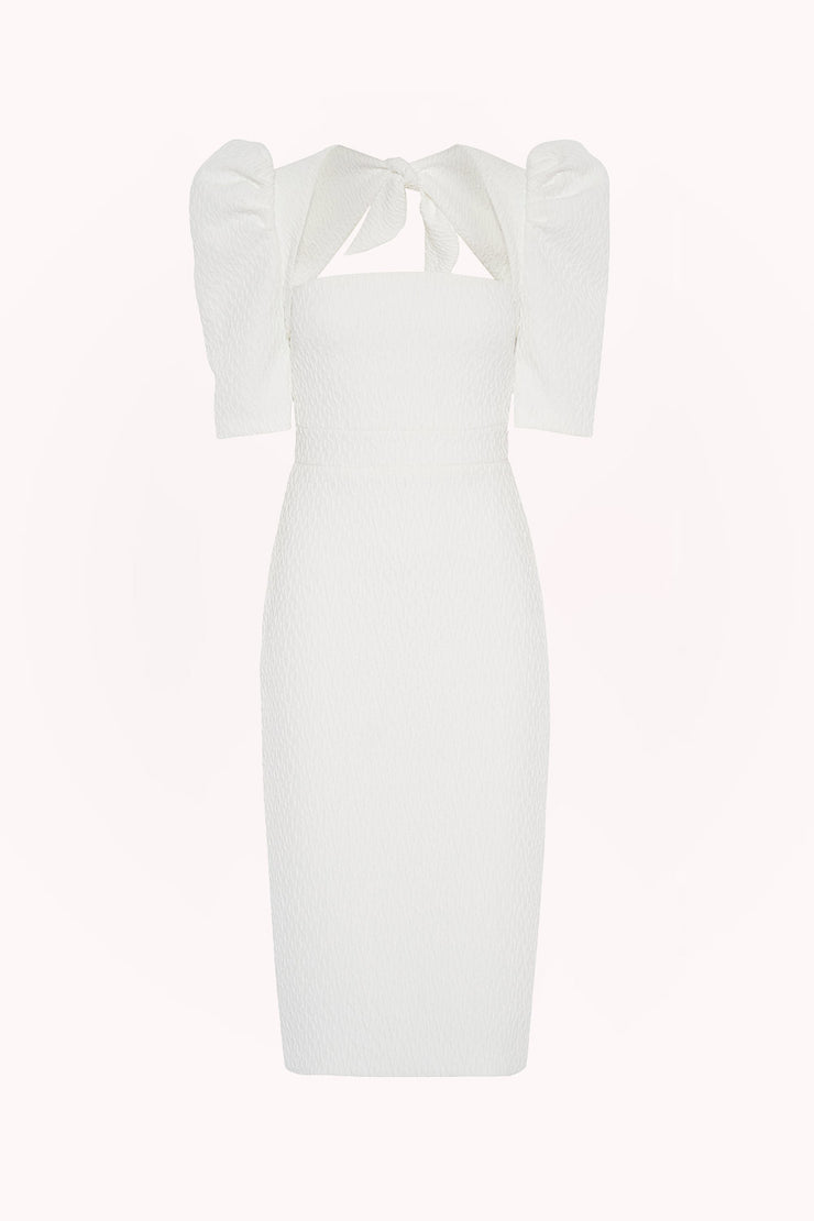 Ocean Jacquard Structured Midi Dress - White