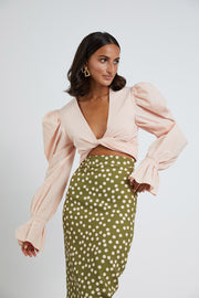 Peach Polka Pencil Skirt