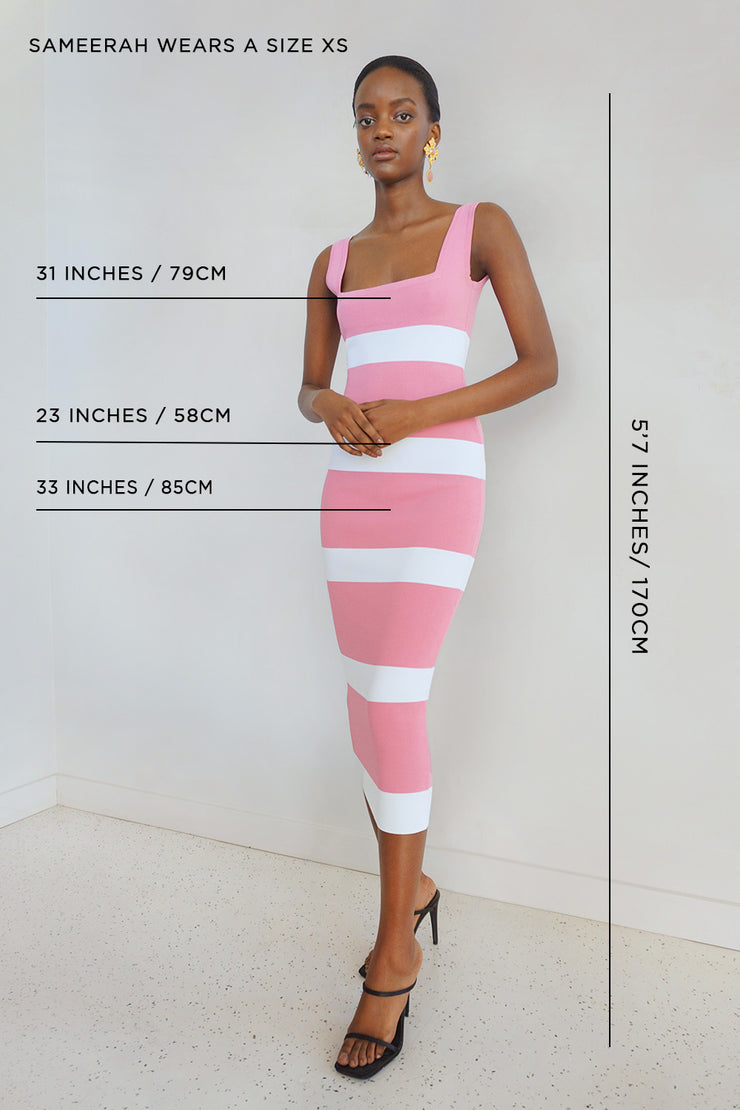 Peony Stripe Square Neck Knit Midi Dress