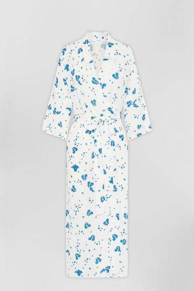 The Johnny Robe - White Blue Floral | Final Sale