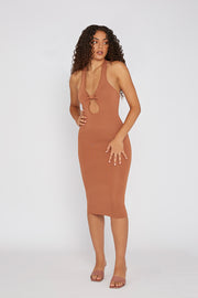 Scarlette Knit Midi Dress - Burnt Caramel