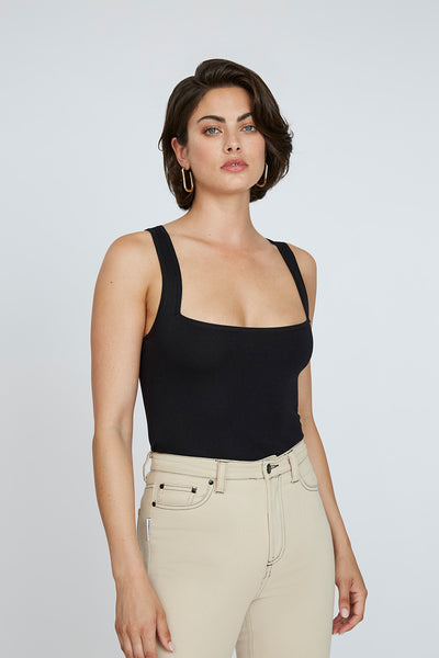 Square Knit Crop Cami - Black