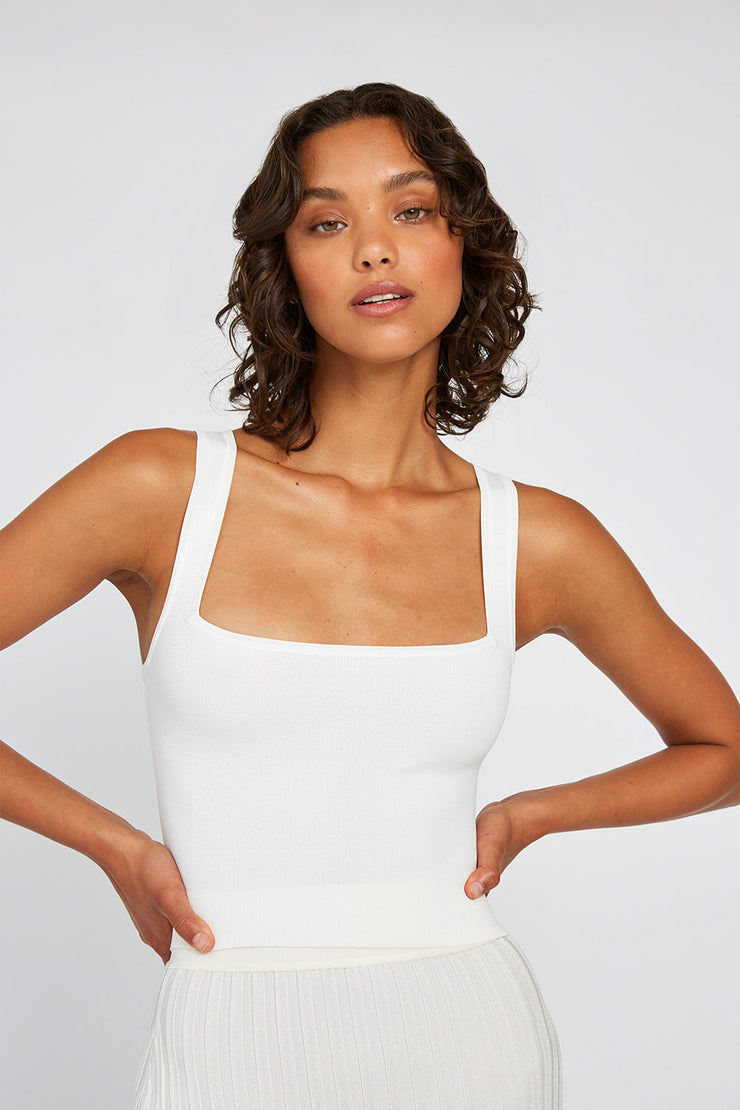 Square Knit Crop Cami - White