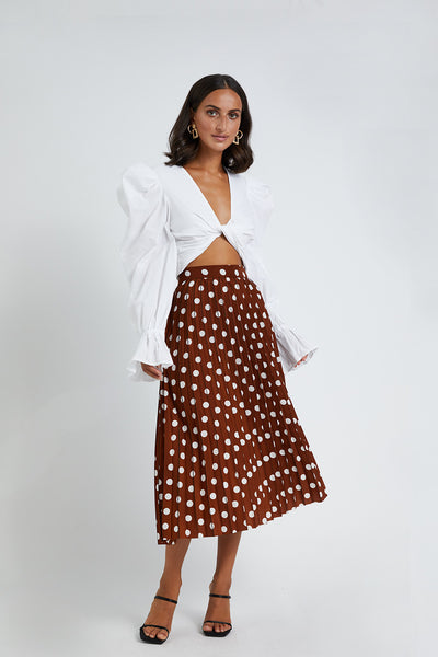Tessa Spot Pleated Midi Skirt