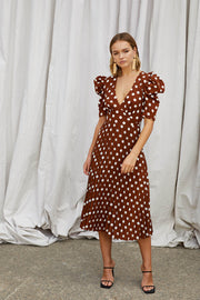 Tessa Spot Tie Back Pleated Midi Dress