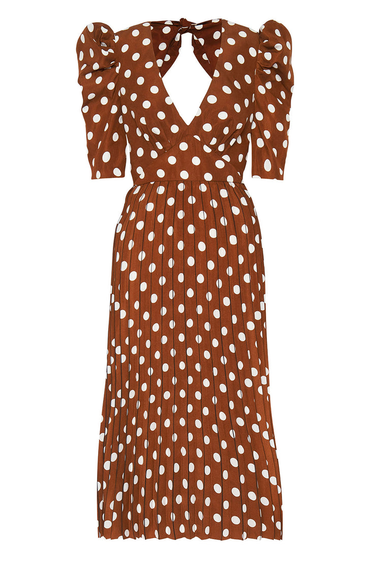 Tessa Spot Tie Back Pleated Midi Dress | Final Sale